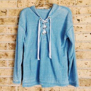 ASOS Ocean Drive blue burnout lace up sweater sm